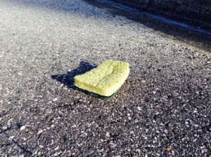 sponge on the road